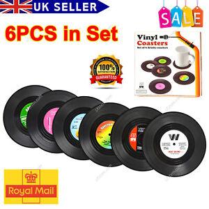 6x Vinyl Style Boxed Coasters Place Mats Bar Set Retro Vintage Record Discs Set