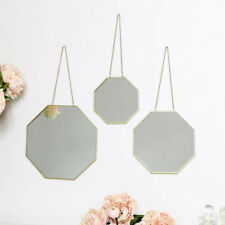 Set 3 gold wall mirrors chain hanger geometric octagon living room hallway decor
