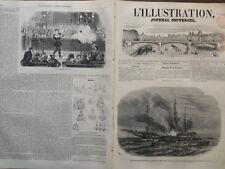 """LA ILUSTRACIÓN 1852 NO 464 EL FUEGO DE LA TRANSBORDADOR INGLÉS """" AMAZON """""""