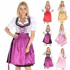 Oktoberfest 3Tlg  Dirndl blumig geblümt rot lila schwarz Damen Midi Tracht 5013