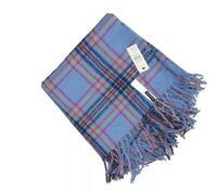 "NWT Talbots 100% Wool Scarf 19"" X 72"" Blue Plaid Soft"