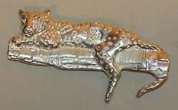 Vintage C. Molina TM-90 Taxco Mexico 925 Sterling Silver Panther Cat Brooch Pin