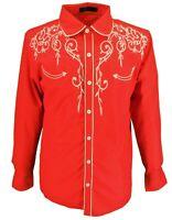 Mazeys Mens Red Western Cowboy Embroidered Vintage/retro Shirts