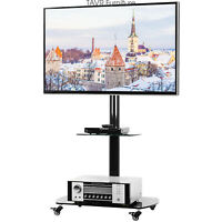 Rolling TV Cart Mobile TV Stand with Lockable Caster Wheels for 37-70 inch TVs