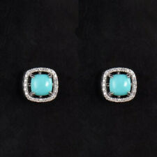 Solid 14K White Gold Natural Diamond Cushion CAB Turquoise Earrings Dual Stud