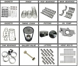 01 - 03 Chevrolet GM 6.0 Engine rebuild kit + lifters + head bolts LQ4
