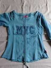 tee shirt bleu turquoise manches longues  MYC  col bateau taille s/m 100 % coton