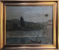 Harlad Heiring 1906-1995 France - Boat on a River - France 74 x 87