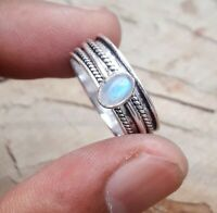 Rainbow Moonstone Solid 925 Sterling Silver Spinner Ring Meditation Ring Sr275