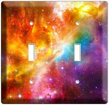 SPACE GALAXY STARS COLORFUL NEBULA DOUBLE LIGHT SWITCH PLATE NERD ROOM BEDROOM