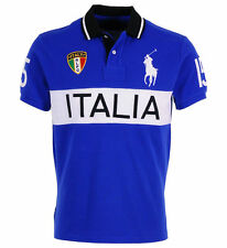 Ralph lauren italie italia polo t-shirt top bleu custom fit big pony taille m