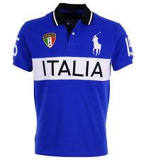 RALPH LAUREN ITALY ITALIA Polo T-Shirt Top Blue Custom Fit  Big Pony Size Medium