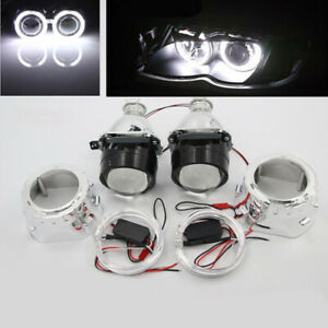 "2.5"" HID H1 Bi-xenon Projector Lens LHD/RHD Headlight w/ Light Guide Angel Eye"
