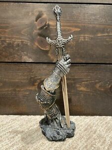 """Vtg Medieval/Fantasy Sword Letter Opener with Knight Arm Stand - Resin/Metal 9"""""""