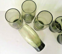 VINTAGE 1970's Libbey Green Smoked Glass Tumblers 16oz  (See Quantity Selection)