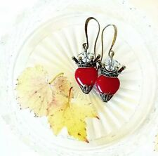 Vintage Tattoo Blood Red x Antique Bronze Sacred Heart earrings, Maroon, Autumn