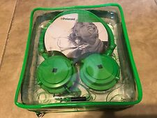 Polaroid PHP8360 Foldable Headphones w/ Microphone & Carry Bag Green NEW