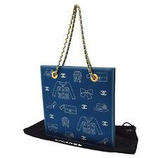 Authentic CHANEL Icon Print Chain Hand Bag Blue Canvas Vintage GHW JT03267