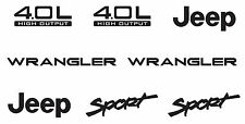 8 PIECE JEEP vinyl STICKERS Wrangler Sport PICK YOUR COLOR Refresh YJ TJ 4.0L