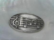 Vintage JJ Signed Oval Pewter Music Notes Pin Brooch – marked on backside –