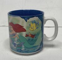 Vtg 90's Little Mermaid Disney Princess Coffee Mug |Ariel & Flounder Cup 12oz