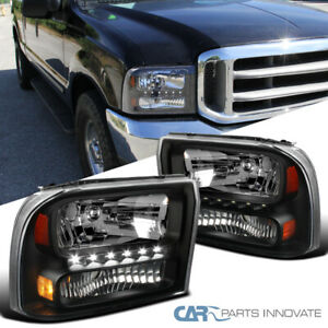 For Ford 99-04 F250/F350 Superduty 00-04 Excursion Black 1PC Headlights+SMD LED