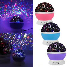 Star Moon Sky Starry Night Projector LED Light Lamp For Kids Baby Bedroom Gifts