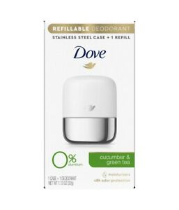 Dove Cucumber Green Tea Refillable Deodorant Stainless Steel Case + 1 Refill