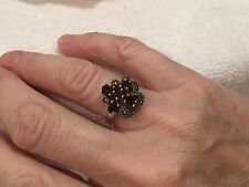SENSATIONAL VINTAGE STERLING SILVER RING-WITH GARNET & MARCASITE-SIZE UK O-US 7