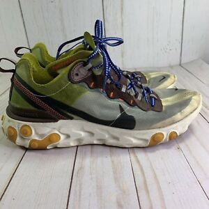 Nike React Element 87 AQ1090-300 Moss Color Running Sneakers Womens 9 Mens 7