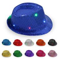 Men Women LED Glitter Sequin Trilby Cap Dance Jazz Hat Gangster Party Costume RJ
