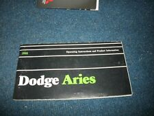 1981 Dodge Aries Factory Original Owners Operators Manual Book