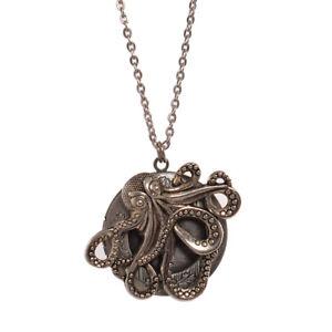 Vintage Gothic Victorian Steampunk Octopus Locket Silver Octopus Necklace Unisex
