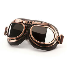 Vintage Style Aviator Pilot Motor Motorcycle Goggles Helmet Chrome Glasses zn