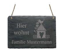« Hier wohnt Familie - IHR NAME - » Schiefertafel Türschild mit Motiv 03