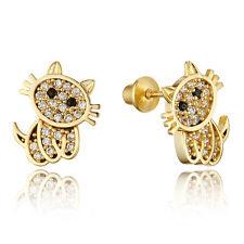 14k Gold Plated Brass Children Baby Cat Screw Back Girls Earrings w Silver Post