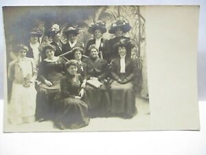 1910 SOMACH STUDIO THE LOOP CONEY ISLAND REAL PHOTO POSTCARD GROUP OF GIRLS POSE