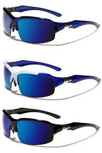 Men's Arctic Blue Semi-Rimless Sports Sunglasses Mirrored Lenses Full UV400