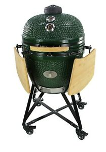 YNNI KAMADO 25.2 inch Grills and Bundles BBQ, Ceramic, Egg, Twin Thermometer Lid