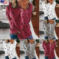Women's Star Print Jumper Tops Long Sleeve Loose Sweatshirt Pullover Blouse US