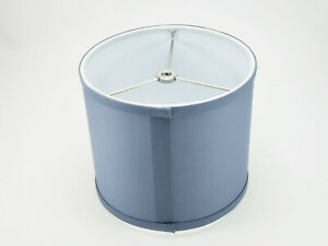 "NEW IN BOX FENCHEL 8"" X 8"" X 7"" DRUM LINEN LAMP SHADE - SLATE COLOR"