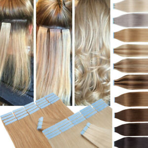 """Skin Weft Indian Hair Tape In 100% Remy Human Hair Extensions Long Straight 16"""""""