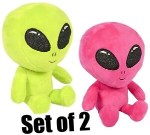(Set of 2) 9'' Green, Pink, Alien Plush Toys Soft Stuffy Cuddly Aliens