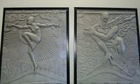NEW PRICING!!!  Zeus and Goddess - Art Deco Machine Age Canvas Prints (Piar)