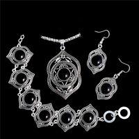 Women Tibetan Silver Turquoise Bib Bead Necklace Earrings Bracelet Jewelry Set