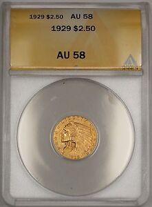 1929 $2.50 Indian Quarter Eagle Gold Coin ANACS AU-58 WW