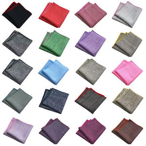 Men's Linen Cotton Plain Color Pocket Square Handkerchief Business Party Hanky