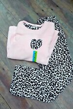 LOVE TO LOUNGE A Pair of Fleecy Long Pyjamas Leopard Print & Pink Sizes M 10/12