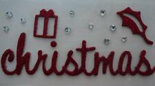 "2 for the price of 1 - Red Glitter Adhesive Chipboard Embellishment ""Christmas"""