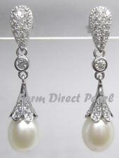 Genuine 8.5-9mm White Drop Pearl Dangle Earrings Wedding CZ Cultured Freshwater
